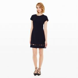 c5ff67994edf87 WornOnTV  Caitlin s navy scalloped trim dress with triangle cutouts on The  Flash