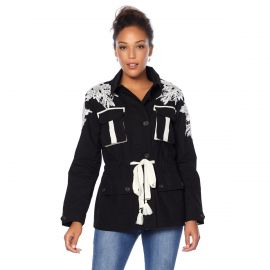 Military Jacket with Lace Detail by Wendy Williams HSN Collection at HSN