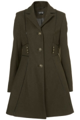 Military Piped Girly Coat at Topshop