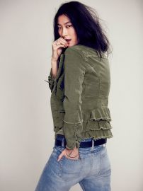 Military Ruffle Twill Jacket at Free People
