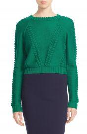 Milly Braid Stitch Wool Crop Sweater at Nordstrom