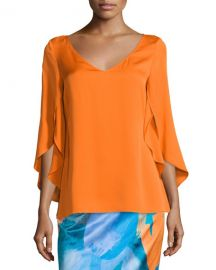Milly Butterfly-Sleeve V-Neck Blouse  Orange x at Neiman Marcus