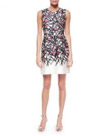 Milly Coco Abstract-Print Dress Pink Pattern at Neiman Marcus