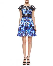 Milly Floral Mirage Cap-Sleeve Flare Dress at Neiman Marcus