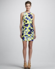 Milly Floral-Print Peplum Dress at Neiman Marcus