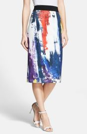 Milly Graffiti Print Midi Skirt at Nordstrom
