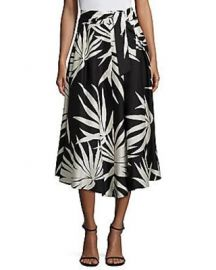 Milly Jackie Palm Print Cotton Midi Skirt at Neiman Marcus