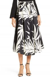 Milly Jackie Palm Print Midi Skirt at Nordstrom
