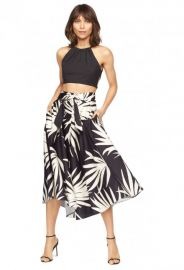 Milly Palm Print Midi Jackie Skirt at Milly