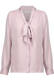 Milly Pussy-bow gathered silk-blend cady blouse at The Outnet
