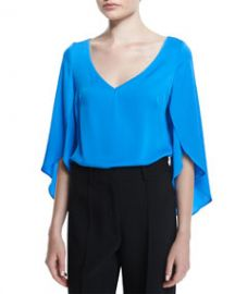 Milly Silk V-Neck Butterfly-Sleeve Blouse at Neiman Marcus