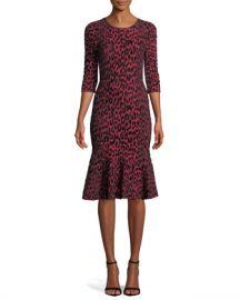 Milly Textured Leopard Animal-Print Mermaid Midi Dress at Neiman Marcus e26f5c097
