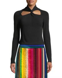 Milly Twist-Neck Pullover Sweater at Neiman Marcus