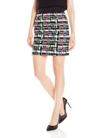 Milly Women s Couture Tweed Zip Back Skirt at Amazon