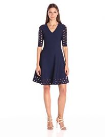 Milly Women s Diamond Pointelle Flare Dress at Amazon