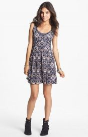 Mimi Chica Pointelle Fit andamp Flare Dress at Nordstrom