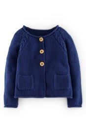 Mini Boden Cable Knit Detail Button Cardigan at Nordstrom