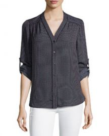 Mini Geo-Print Silk Blouse Coastal at Last Call