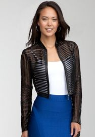 Mini Striped Leather Jacket at Bebe