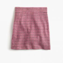 Mini skirt in pink houndstooth at J. Crew