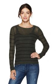 Minnie Rose Womens Stripped Distressed Cashmere Sweater at Amazon