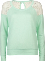 Mint green and lace shoulder sweater by Full Tilt at Amazon