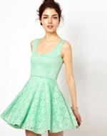 Mint green lace skater dress at Asos