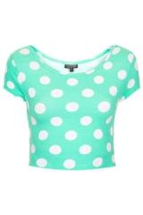 Mint polka dot crop top at Topshop