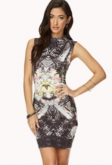 Mirrored Botanical Bodycon Dress at Forever 21
