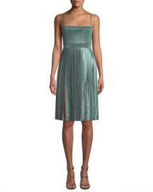 Misha Janelle Double-Slit Metallic Dress at Neiman Marcus
