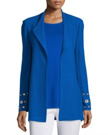 Misook Long Knit Jacket with Grommet Detail at Neiman Marcus
