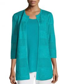 Misook Textured Lines Long Jacket  Turquoise  Petite   Neiman Marcus at Neiman Marcus