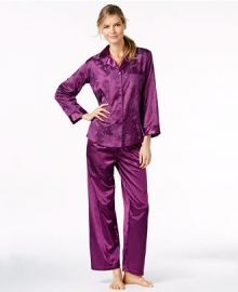Miss Elaine Brushed Back Satin Notch Collar Top and Pajama Pants Set in Purple at Macys