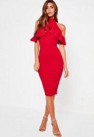 Missguided High Neck Frill Cold Shoulder Midi Dress Red at Missguided