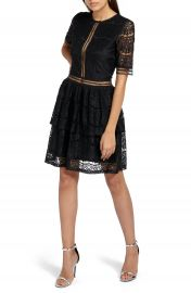 Missguided Lace Inset Fit   Flare Dress at Nordstrom