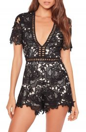 Missguided Ladder Stitch Lace Romper at Nordstrom