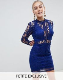Missguided Petite lace bodycon mini dress in cobalt at asos com at Asos