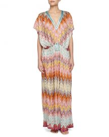 Missoni Mare Zigzag-Print Long Caftan  Multi at Neiman Marcus