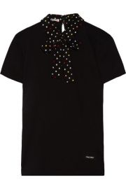 Miu Miu   Polka-dot silk-trimmed cotton-jersey T-shirt at Net A Porter