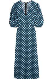 Miu Miu   Printed crepe de chine midi dress at Net A Porter