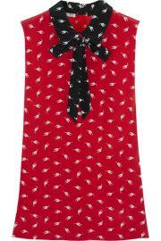 Miu Miu   Printed silk crepe de chine top at Net A Porter