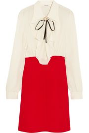 Miu Miu   Ruffled silk crepe de chine mini dress at Net A Porter