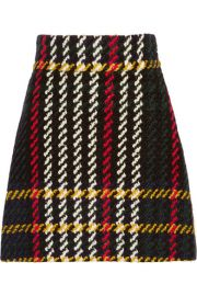 Miu Miu  Plaid wool and cotton-blend boucl-tweed mini skirt at Net A Porter