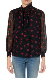 Miu Miu Black Georgette Blouse With Strawberry Print at Italist