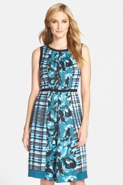 Mix Print Pleated Fit andamp Flare Dress at Nordstrom Rack