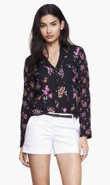 Mixed Floral Convertible Sleeve Shirt at Express