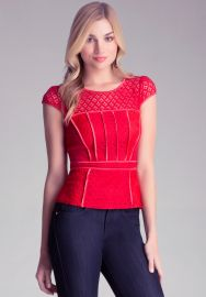 Mixed Lace Peplum top at Bebe