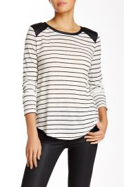 Mixed Media Linen andamp Faux Leather Washington Long Sleeve Top at Nordstrom Rack