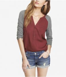 Mixed Media Raglan Sleeve Pocket Tee at Express