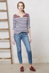 Mixed Print Henley in blue at Anthropologie